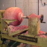 Turning a Toona (Australian Red Cedar) bowl on the lathe.